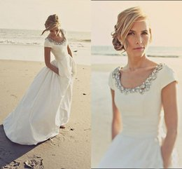 Wholesale Taffeta Wedding Dresses Pockets - 2017 Beach Wedding Dresses with Pockets and Short Sleeves Modest Scoop Beading White Taffeta Cheap Spring Wedding Bridal Gowns Custom Made