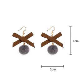 Wholesale Harajuku Bows - 2018 New Fashion in Fashion_story Winter Fitted Simple Harajuku Girls Ribbon Bow Plush Ball Pendant Earring
