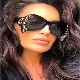 Wholesale Decorative Sunglasses - FU E new fashion sunglasses ladies fashion bat big frame brand design personality large decorative sunglasses UV400 1392