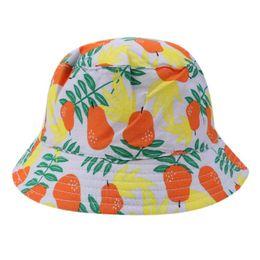 Детские Sun Hat младенческой груша печати Sunbonnet шапки хлопок двусторонняя Рыбак Cap мальчики девочки лето ведро шляпы от Поставщики боковые крышки для девочек