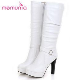 02a7beaec2 MEMUNIA 2018 meados botas de bezerro outono inverno sapatos da moda mulher  plataforma botas de couro PU macio sapatos de salto alto sapatos metade
