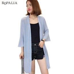 Wholesale Top Stylish Ladies Long Shirts - ROPALIA Stylish Shirts Ladies Puff Sleeve Chiffon Shirt long Three Quarter sun protection clothing Tops