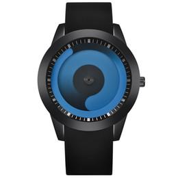 Freschi orologi online-Orologio da polso da uomo Orologio giradischi Cool Blue Ocean Swirl Pointer analogico in pelle di quarzo Originalità Orologio sportivo da donna Fashion 21kr bb