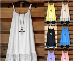 Wholesale lace crochet tank - Sexy Beach Vintage Sweet Casual Crochet Solid Hollow Lace Camis Slim Bohemia Tank Top Tee Blouse For Women