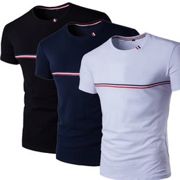 Wholesale Large Tee Shirt Men - 2018 Summer Homme Clothes Short Sleeve T-Shirts Men O-Neck Tshirt Casual Cotton 4XL Tee Shirt Summer Slim Fit Color Stripe Tees large size