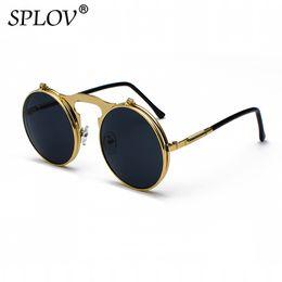 b266b21aa7 Vintage Steampunk Flip gafas de sol retro redondo marco de metal gafas de  sol para hombres mujeres marca diseñador círculo gafas gafas