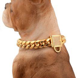 Collari in acciaio inox online-Collari a catena in acciaio inossidabile 14mm con fibbia a fermaglio per cani di grossa taglia Pitbull Bulldog Collare per cani