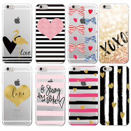 Wholesale Iphone Stripes - Stripe Heart Bow Knot Flamingo Love Soft TPU Case for iPhone 7Plus 7 6 6S 6Plus 5 5S 8 8Plus X