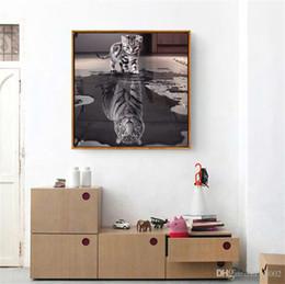 Pinturas fáceis on-line-DIY Full Diamond Pinturas Prático Clássico Da Arte Da Parede Preto E Branco Gato Tigre Resina Quadrado Fácil Transportar 6 5ss cc