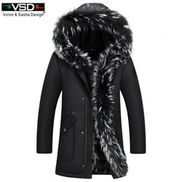 Wholesale long down filled jacket - VSD 90% Winter Couple Models Down Jacket Thick Warm Long Raccoon Fur Collar Coat Woman And Men's Cotton liner Filled Duck Parkas