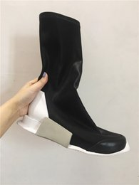 Wholesale Black Half Socks - new Elastic slip on sock boots genuine leather rock tank ins high luxury boots unisex street west hip hop boots