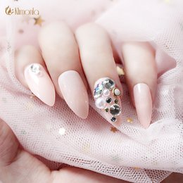 3d pre designed nails NZ - 24 Pcs Stiletto Pink False Nails With 3D Pearl Rhinestone Pre-Designed French Acrylic Nail Sticker Full Nails Art Tip With Glue