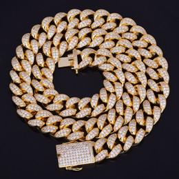 Nuevo Vendedor Caliente 20mm Helado Zircon Collar de Cadena Cubana Hip hop Joyería Cobre Material CZ Corchete Collar Para Hombre Enlace 18-28 pulgadas desde fabricantes