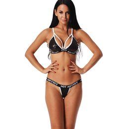 Sexy Lingerie Bra Set Sequin Glitter Bandage Cross Belt Hollow Bra  Intimates Ladies Underwear Set Erotic G-String Panties fe86c4b2a