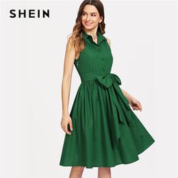 cabbfa568a 20187 SHEIN Green Elegant Workwear Self Belted Shirt Stand Collar  Sleeveless Button Pocket Dress Summer Women Weekend Casual Dresses
