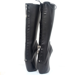 Stivali alti cosplay online-Nuovo 18Cm Super High Heel Ballet Boots Zoccoli Heelless Heels Cosplay Shoes Pointe Punk Goth YKK Chiusura lampo Zipper Sexy Fetish Boots
