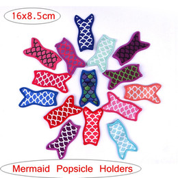 Wholesale Gift Sleeve - Sublimated cute mermaid popsicle sleeve ice popsicle holders neoprene pop ice sleeve Mermaod Fish Style Freezer For kids gift