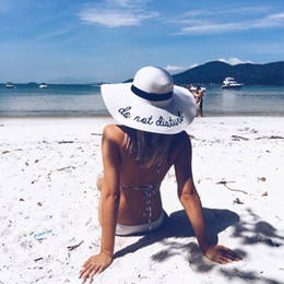 Wholesale girls black straw hat - dropshipping Hot sale wide Brim sun hats for women Letter Embroidery straw Hats girls Do Not Disturb Ladies Straw hats