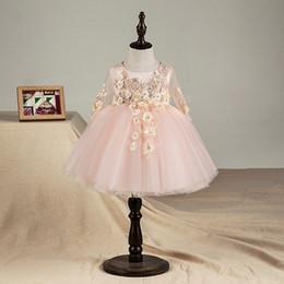 Top Qualidade Floral Bebê Recém-nascido Menina Vestido de Batismo Rosa Tule Infantil Meninas Princesa Batismo Vestido Da Criança Roupas de Aniversário de