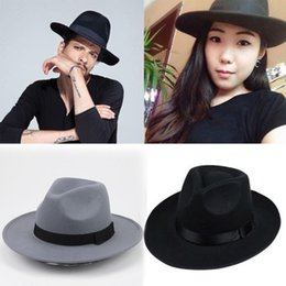 Hippie Unisex Men Black Jazz Wool Trilby Bowler Fedora Panama Hat Gangster  Cap 8384d4c48b9b