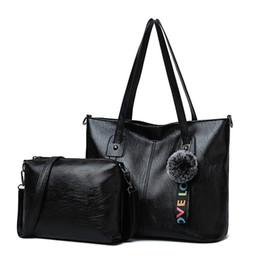 New Women Messenger Bags Luxury Lady Handbag 2 Pcs set Composite Bags Set  Women Shoulder Crossbody Bag Female Handbags Black 22a03602d9