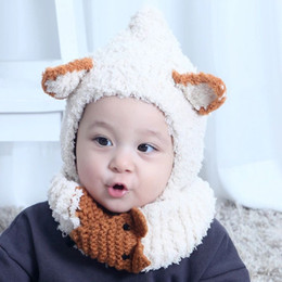 2018 Autumn Winter Baby Kids Cartoon Cat Hat Scarf Wraps Knitted Cap  Beanies Crochet Neckerchief Children Neck Warmer Hats 2pcs Set M164 4df06d05e670