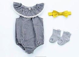 Wholesale Grid Girls Clothing - 2018 Summer Baby Girl Bodysuits grid cotton Sleeveless Jumpsuit Newborn Clothing 0-3t D009