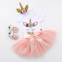 Wholesale Dress Shoes Girl Bow - Unicorn Girls Party romper dress Summer Clothes 4pc set infant white romper & girls sequin bow tutu skirt & baby unicorn headband & Shoes