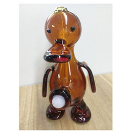 Wholesale Real Ducks - Real-Pictures Amber Duck Bongs 5inch Dab Rigs Glass Bong Joint 14.4mm Filter Cup Pipes Beaker Two Function Glass Water Pipess Free Shippin