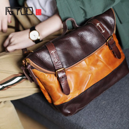 549b003c6a9 AETOO Vintage handmade leather messenger bag college wind leisure folding  dual-use big bag Korean men and women Messenger