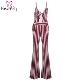 Wholesale Wide Leg Pants Trousers Jumpsuits - 2018 Fashion Women Sexy Elegant Jumpsuits Wide Leg Pants Striped Long Jumpsuit Playsuit Romper Pant Trouser Overall Spring