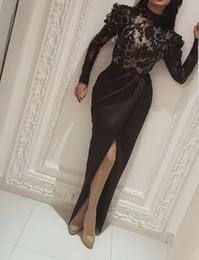 Discount long white shirt slits - New Vestido De Festa Evening Dresses High Neck Long Sleeve Black Lace Appliques Beads Mermaid Slit Formal Prom Gowns 2018