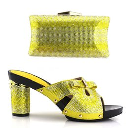 Wholesale Yellow Kitten Heels Wedding - Women's shoes with women's shoes and beaded bags of Italian, African women's shoes, with a hot yellow package of mail AB10-3