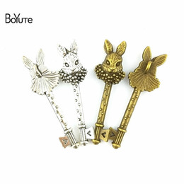 Wholesale Peters Rabbit - BoYuTe (30 Pieces Lot) 16*51MM Vintage Accessories Part Antique Bronze Silver Peter Rabbit Key Zinc Alloy Charms Pendants for Jewelry Making