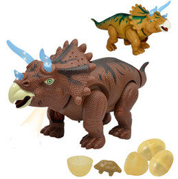 Wholesale Battery Operated Animal Toys - Electric Walking Lay Eggs Dinosaur Toys Glowing Dinosaurs with Sound Animals Model Toys for Kids Children Interactive Gift