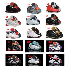 Wholesale french net fabric - [With Box]Retro 7s VII Men Basketball Shoes Dark Grey Sliver Hare Nothing But Net French Blue Raptor Bronze Kids Sports Training Sneakrs