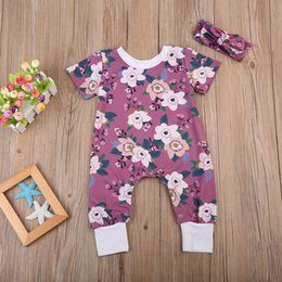 497e55913706 Infant Baby Girl Floral Jumpsuit+Headband Purple Flowers Outfits Summer Baby  Girls Clothes Romper Toddler Bodysuit Kid Clothing 0-24M discount bodysuit  baby ...