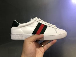 Wholesale casual leather shoes women - New man women luxury designer shoes blue red stripe with top quality new upgrade version casual ace shoes size 34-46