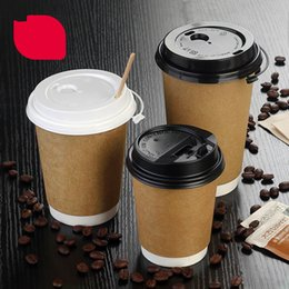 Wholesale paper cup hot - Disposable cups Paper Cups Milk Coffee Mugs 12oz 8oz Tumblers Takeout packed tea cup Hot drink Container One-off Cup With Lids