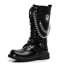 Wholesale Punk Boots Men - Army Boots Men Military Leather Combat Metal Buckle Male Motorcycle Punk Boots Men's Shoes Rock Zapatillas Deprtivas Hombre