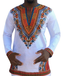 Wholesale Ethnic Clothes Men - African Style Mens Long Sleeve T-Shirt Africa Dashiki Dresses Men and Women 2018 Africa Ethnic Clothing Hot Sales