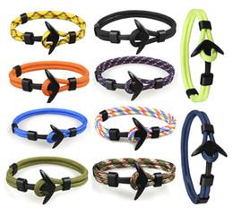 Wholesale Jewelry Anchor Chain - 10 Color Black Color Anchor Bracelets Men'S Chain Paracord Bracelet Polyester Cord Chain Charm Men Bangles Jewelry Free DHL D717L