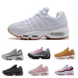 Wholesale Cushions Silver Black - Fashion Woman Air Cushion 95 Running Shoes For Women Sports Black White Womens Trainers Sneakers Fashion athletic Walking training shoes