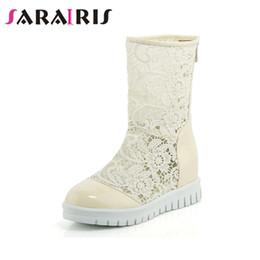 96ba235400b SARAIRIS 2019 Nueva punta redonda Zip Up Botas de verano Zapatos de mujer  Plataforma Tacones cada vez mayores Negro Blanco Zapatos de mujer de gran  tamaño ...