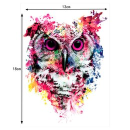 Wholesale Tattoo Design Colorful - F new 2 pcs set lovely Sheet Colorful Body Art Catoon Drawing Temporary Tattoo Women Men Owl Decal Design Waterproof Tattoo