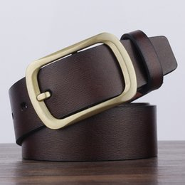 Wholesale wide vintage leather belt - New Arrival High Quality PU leather Mens Belt Top Quality Luxury Brand leather Belts for Men Needle buckle Vintage male jeans belts LH-P39