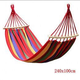Wholesale Wooden Swings - Wholesale- 240x100CM Canvas Camping Hammock Wooden stick Prevent Rollover Hammocks Bar Garden Camping Swing Hanging For Fat Strong Person