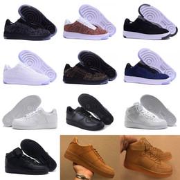 Chaussures haut de gamme en Ligne-Nike Air Force One Flyknit 1 De haute qualité MEST mode les bas haut blanc chaussures noires Les femmes noires aiment unisexes 1