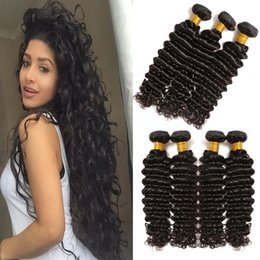 Wholesale Hair Weave Style Natural Wave - 8A Mink Peruvian Human Hair Deep Wave 3 4pcs Unprocessed Virgin Peruvian Deep Curly Wavy Weaving Hair Styles 8-26inch in Natural Color