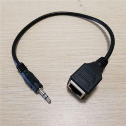 2019 satelliten-tv kostenlos 3,5-mm-Aux-Stecker auf RJ-45-RJ45-Buchse Adapter LAN Ethernet Netzwerk Audio Verlängerungskabel Kabel 30 cm